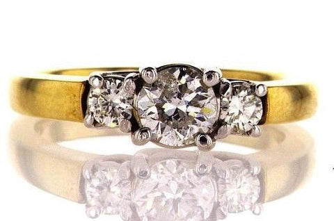 0.94CT F/I1 Diamond Engagement Ring 14K Gold Natural Round Cut Brilliant Size 6