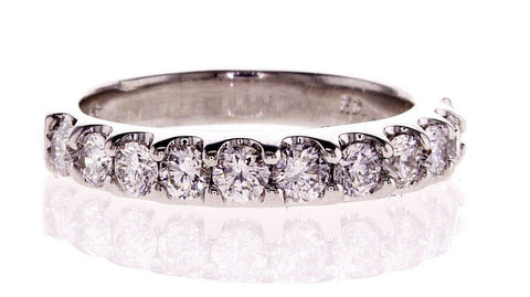 1CT G/VS2 Diamonds Ring Eternity Band 14k White Gold Natural Round Cut Size 4.5