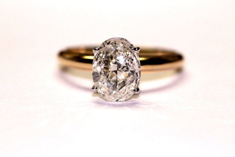 14k Yellow Gold Natural Oval Cut Diamond Solitaire Ring L Color VS1 1 CT