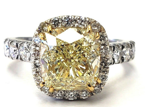 4CT Diamond VS1 Clarity Natural Yellow Color Cushion Cut 18K Ring GIA Certified