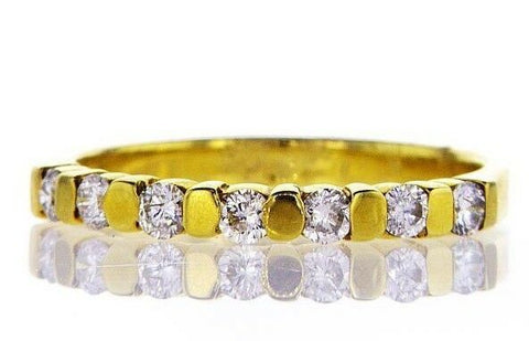 14K Yellow Gold Diamond Ring Entirely Band Natural Round Cut 0.32CT G SI1 Size 6