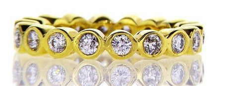 1CT Diamond Band Ring Round Cut G-H SI1 14K Yellow Gold Infinity Bezel