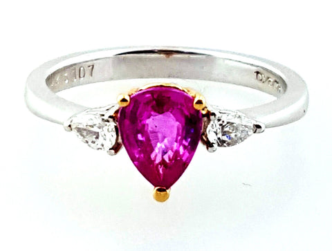 Fancy Purplish Pink Sapphire and Diamond Engagement Ring 1.20 CTW Retail $2500