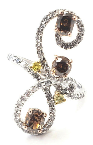 Beautiful Cocktail Diamond Ring 18k Gold 1.25 CT Natural Fancy Chocolate Color