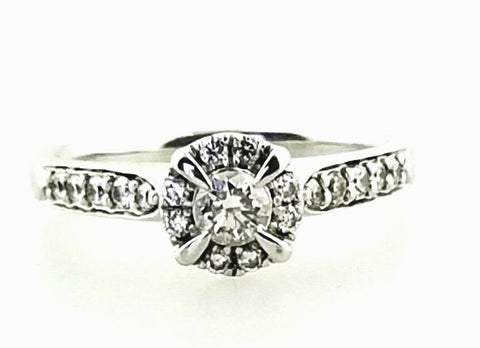 0.40 CT G Color SI1 Diamond Engagement Ring 14K White Gold Natural Round Cut