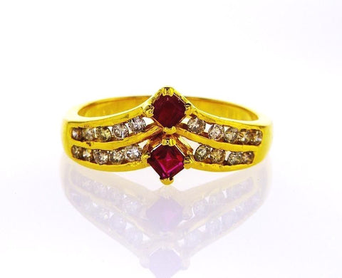 1/2 CTW 14k Yellow Gold Vintage Women's Natural Red Ruby and Diamond Ring