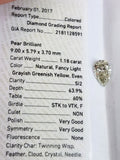 1.18 CT Natural Loose Diamond GIA Certified Fancy Green-Yellow Color Pear Cut
