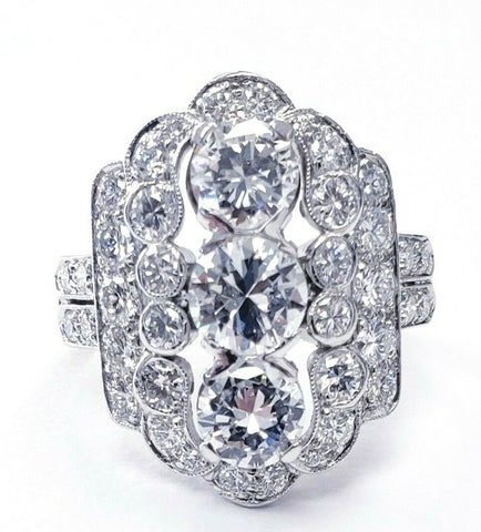 Natural Antique Ring Vintage Platinum Art Deco 4 CT Diamonds D/VS1 Size 7.75