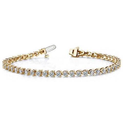 5 CT G-H VS2 Natural Diamond Tennis Bracelet GAL Certified 14k Solid Yellow Gold