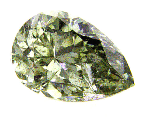 GIA Certified Rare Fancy Chameleon Green Color Pear Cut Loose Diamond 0.42 CT I1