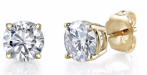 0.37CT H/ I1 NATURAL DIAMONDS STUD EARRINGS14K GOLD  ROUND CUT 3.5MM Push Back
