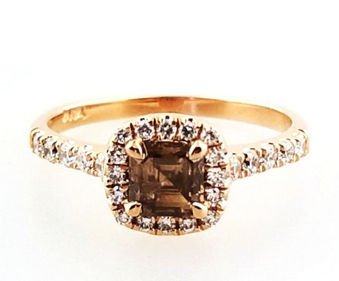 0.74 CT Natural Fancy Brown Diamond Engagement Ring Asscher Cut 14k Rose Gold