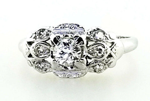 Antique Diamond Ring 14k White Gold Natural Round Cut Women's 0.75 CTW Size 6