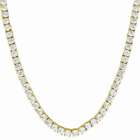 11 CT G-H SI1 14k Yellow Gold Natural Diamond Tennis Necklace Certified 4.75MM