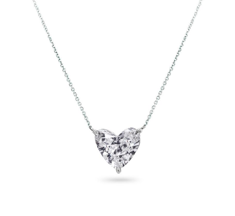 3/4 CT I/I1 Heart Shape Cut Brilliant Natural Diamond Necklace 14K GIA Certified