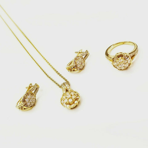 3.05 CTW Diamond Jewelry Set Natural 18k Yellow Gold Earrings, Necklace and Ring