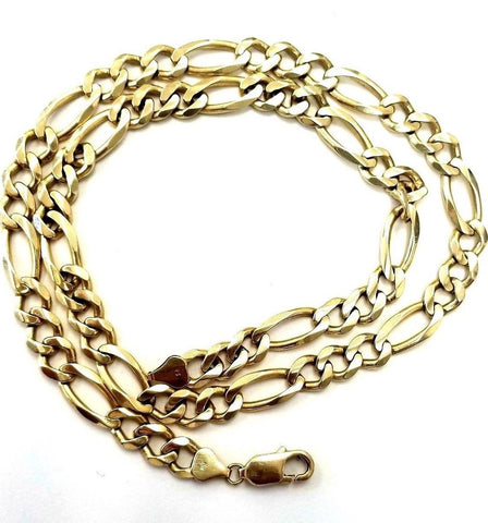 "Chain/Necklace 14k Solid Yellow Gold Handmade Figaro Curb link  22"" Inch 51 Gram"