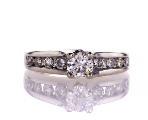 Natural Round Cut Diamond Engagement Ring H Color 0.75 CT 14k White Gold Size 5