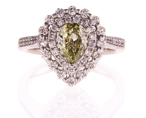 GIA Certified Natural Fancy Color Pear Cut Chameleon Color Diamond Ring 1.51CTW
