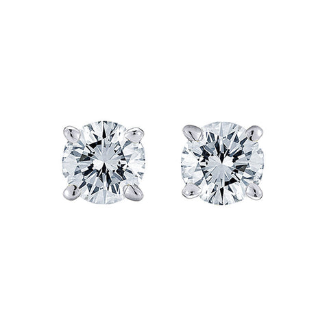 1.5 CT I VS2 Certified Diamond Studs Earrings 14k White Gold Natural Round Cut