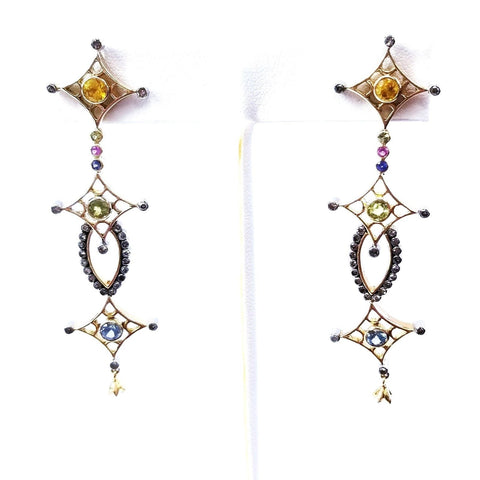 Diamond Drop Earrings 2.70 CTW Ladies 14k Yellow Gold Multi Color Gemstone