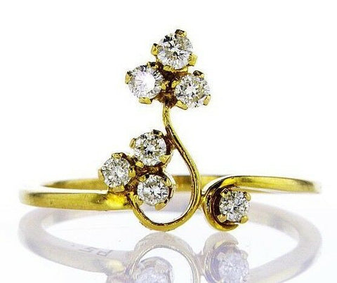 Diamond Ring 18K Yellow Gold 0.29 CT H / VS2  Natural Round Cut Dainty Flower