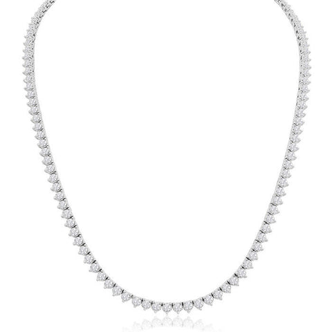 Beautiful 16 CT F/ VS2 Natural Diamond Tennis Necklace Certified 14k White Gold