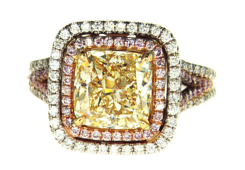 4CT Natural Fancy Yellow Pink Color Diamond Ring 18K GIA Certified Cushion Cut