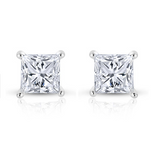 2 CT VS2 Princess Cut Diamond Solitaire Stud Earrings GIA Certified 14k Gold
