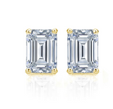 2.50 CTW Diamond Studs Earrings 14k Yellow Gold Screw Back Natural Emerald Cut