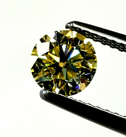 1CT Loose Diamond Fancy Yellow Natural Color Round Cut Brilliant GIA Certified