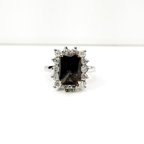 Natural Radiant Natural Fancy Black Color Diamond Engagement Ring 6.00 CTW