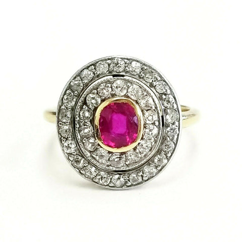 1CT Red Ruby Burma Ring Oval Cut Brilliant 18K Yellow Gold Natural diamonds size 6
