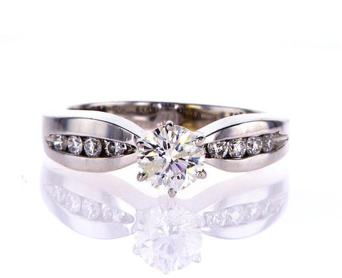 Natural Genuine Round Cut 14k White Gold Diamond Engagement Ring 0.86 CTW G I1
