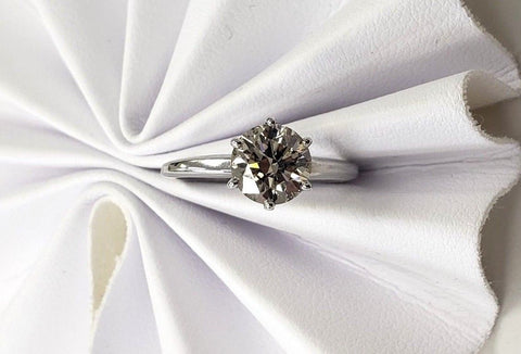 1.42CT Natural Diamond 14K White Gold Solitaire Ring Round Cut Brilliant Size 6