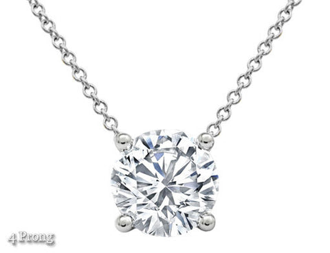 1 CT Solitaire Natural Diamond Pendant Necklace Round Cut Solid 14k White Gold