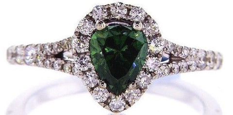 1.36 CT Fancy Green Color Diamond Engagement Ring GIA Certified Natural Pear Cut