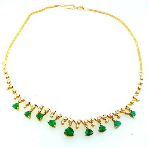 721a57712 Colombian Emerald Necklace 14K Yellow Gold Natural Estate Diamond SI1  $10,000