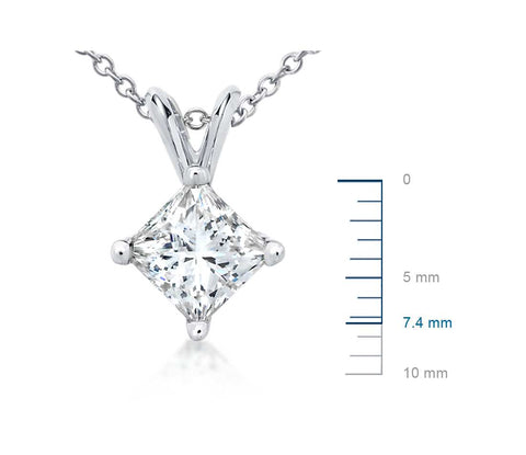 Princess-Cut Diamond Pendant in Platinum (1 1/2 ct. tw.)