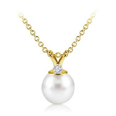 Freshwater Pearl Pendant With Diamond (8.0-8.5mm)