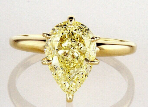 Huge 3CT Diamond Ring 14K Yellow Gold Natural Pear Cut Fancy GIA Certified