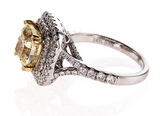 GIA Certified Cushion FANCY YELLOW DIAMOND RING VS2 4 CTW