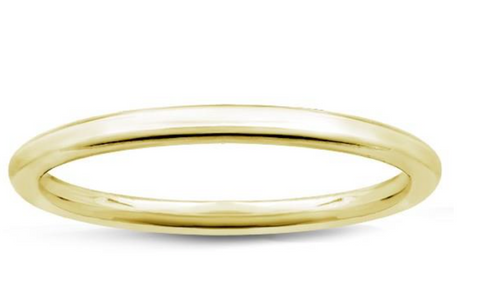Solid Metal Wedding Band 1.5mm 14K Yellow Gold