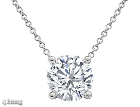 Solitaire Natural Diamond Pendant Necklace 1 CTW H/I1 Round Cut Solid 14k White Gold 18'