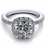 Halo Diamond Ring with Sidestones 14K White Gold