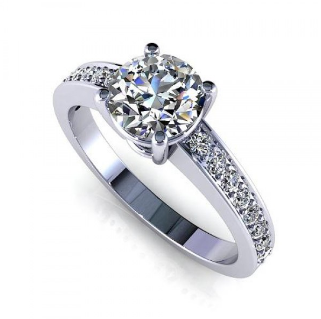 Pave Set Engagement Setting 14K White Gold