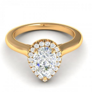 Plain Band Pear Halo Engagement Setting 14K Gold