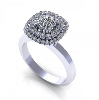 Double Halo Solitaire Diamond Ring