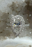 Engagement Ring Set 3.75 CT H VS1 G.I.A Certified Natural Diamond Pear Cut Halo