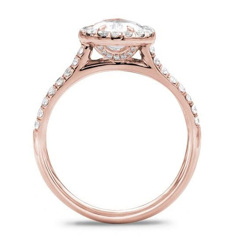 French Cut Halo Setting For Oval 18K Rose Gold
